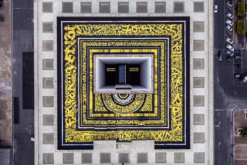 A 'guru da caligrafia' criou uma obra batizada de 'Calligrafuturism' no terraço da sede da Fendi. (crédito: divulgação).
