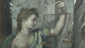 Detalhe de uma das obras de Rafael encontradas no Vaticano. (crédito: reprodução/CNN).