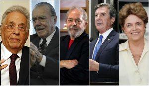 Os ex-presidentes Fernando Henrique Cardoso, José Sarney, Lula, Fernando Collor e Dilma Rousseff.