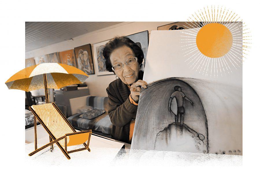 Artista plástica Ida Hannemann de Campos, decana das pintoras paranaenses, com 93 anos trabahando em seus dois ateliês cheios de quadros. – Foto: Albari Rosa – Arte: Felipe Lima.