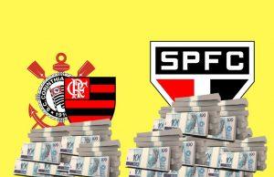 Corinthians, Flamengo e São Paulo: contrastes financeiros com Libertadores e Copa do Brasil.