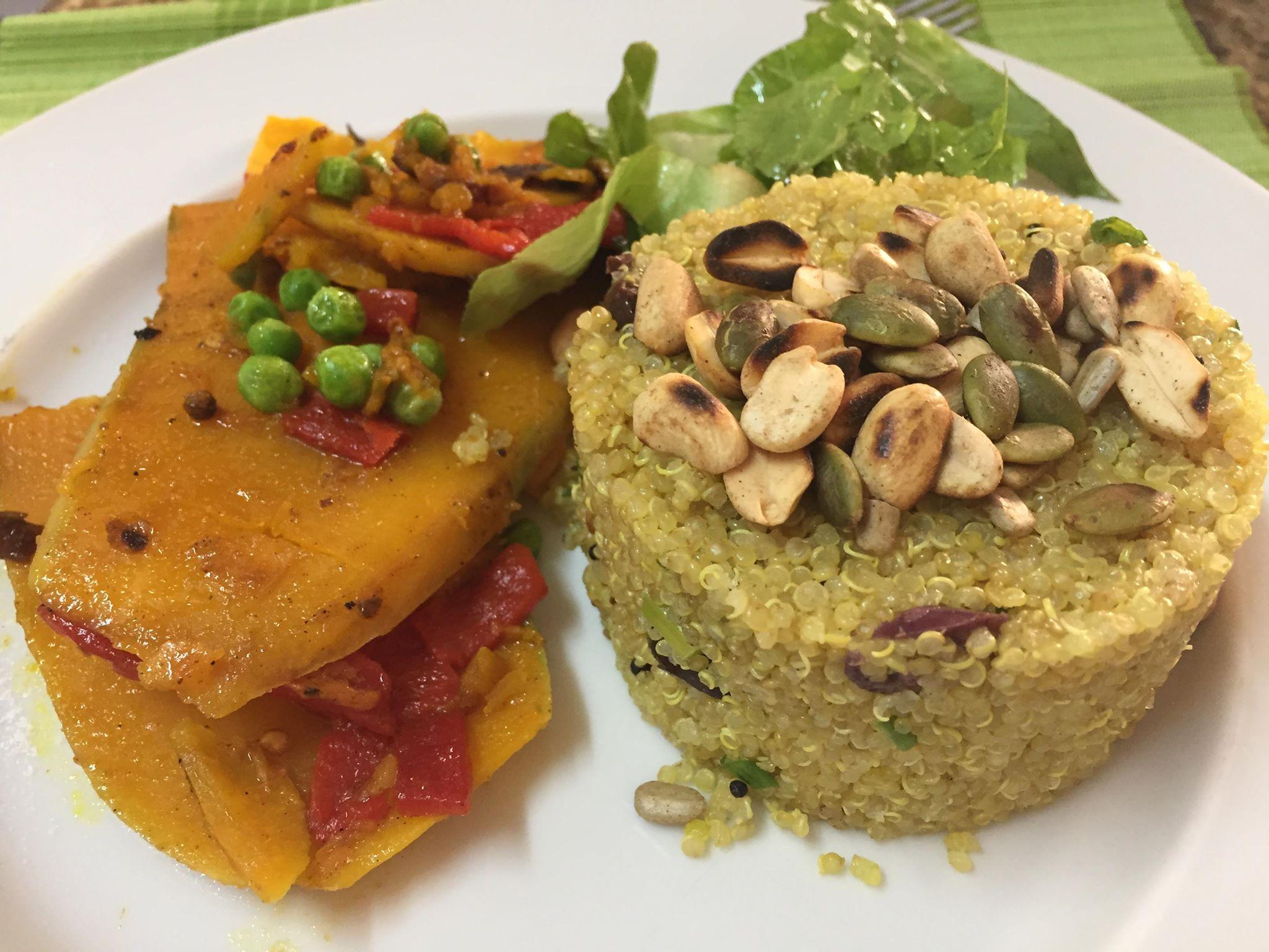 Um dos pratos ensinados pela culinarista será quinoa refogada com lascas de abóbora grelhadas e amendoim. Foto: Divulgação