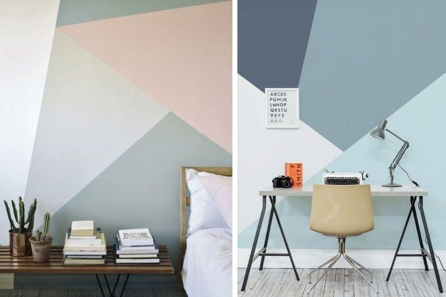 Inspire se paredes com pintura em diagonal passa l em casa - Pintura lavable para paredes ...