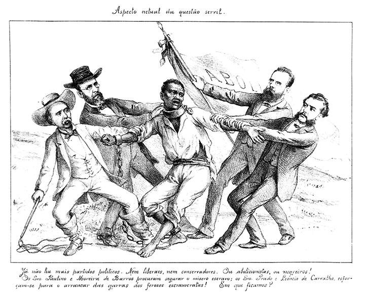 Charge de Ângelo Agostini, na Revista de Semana (1887). Escravo sendo disputado por fazendeiros e abolicionistas