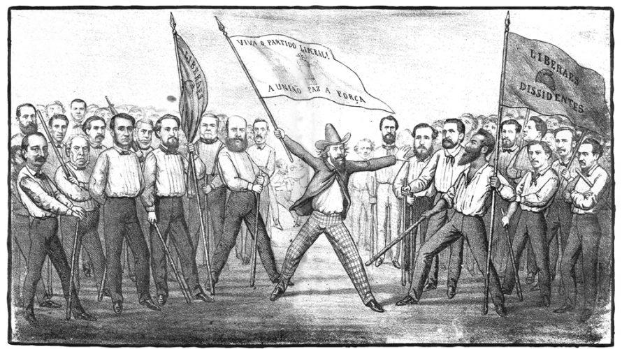 Luiz Gama empunha a bandeira dos Liberais Dissidentes. Angelo Agostini/Reprodução