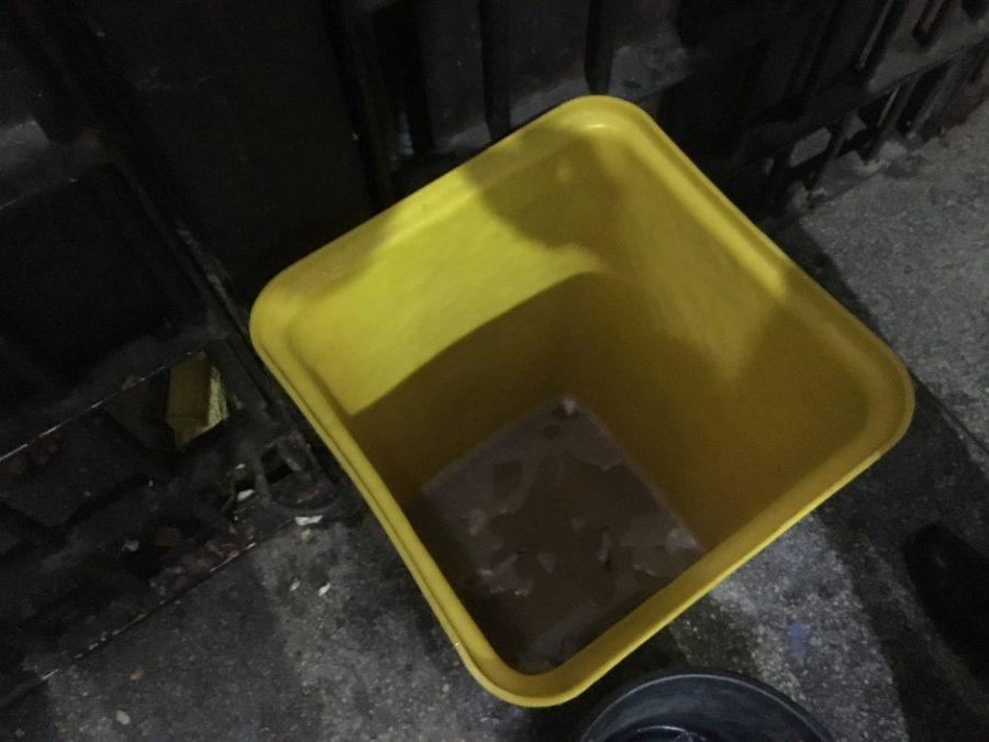 Latões com urina vazam, atraindo ratos e outros bichos. Foto: Eriksson Denk / Conselho da Comunidade CWB