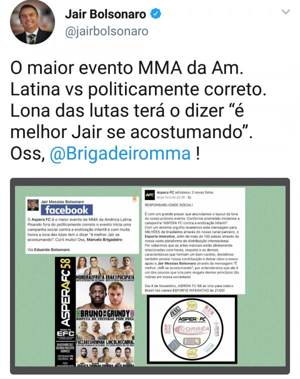 Mensagem no Twitter de Jair Bolsonaro agradecendo o Aspera FC